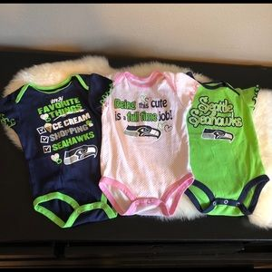 Bundle of 3 like new Seahawks Onesies